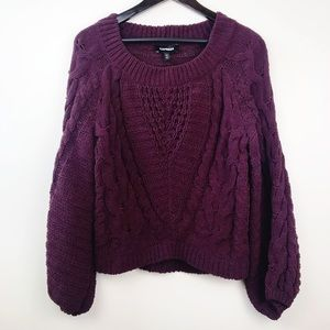 Express • Cozy Plum Chunky Knit Sweater NWT